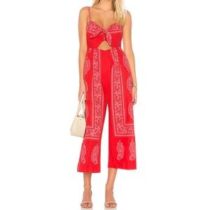 Free People Red Feel The Sun Jumpsuit
